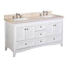 "Abbey 60"" Bath Vanity, Base: White, Top: Crema Marfil, Double Vanity"