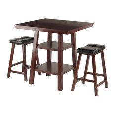 Orlando 3-Piece Set High Table, 2-Shelf With 2 Cushion Seat Stools