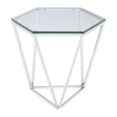 Delicieux Nuevoliving   Louisa Side Table, Glass Top End Table, Chrome Stainless  Steel Base