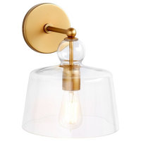 Industrial style Metal Sconce,  Glass Shade Gold