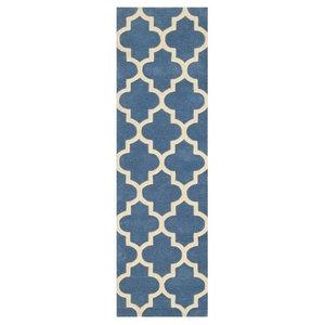 Arabesque Runner, Denim Blue and Ivory, 68x235 cm Runner