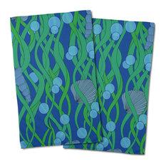 Green Seaweed Hand Towels, Set of 2