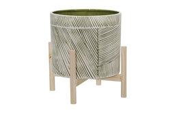 """Sagebrook Home 12"""" Ceramic Planter With Wood Stand 15071-01"""