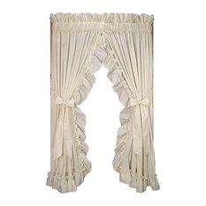 "Stephanie 86""x84"" Ruffled Priscilla Curtains, Bow Tie Backs, 3"" RP, Natural"