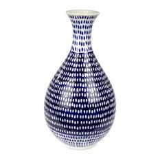 """Sagebrook Home Blue/White Spotted Vase 12.75"""""""