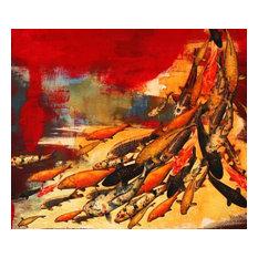 """Koi on Crimson/Yellow"" 31.25x31.25 Framed Limited Fine Art Paper Print"