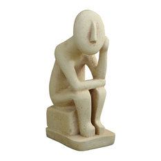 """Abstract Cycladic Thinker Statue, 6.25"""""""