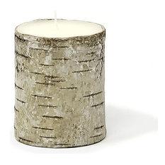 Serene Spaces Living Birch Bark Piller Candles, Small