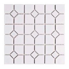 "11.75""x11.75"" Namba Porcelain Mosaic Floor and Wall Tile, Matte White/Glossy Dot"
