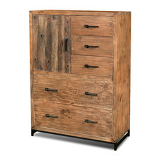 Atwood Rustic Distressed Solid Wood Chest Of Drawers Dresser