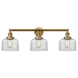 3-Light Bath Light Brushed Brass With Vintage Bulbs