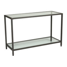 Studio Designs - Studio Design Camber Collection Rectangle Clear Glass Console Table, Pewter - Coffee Tables