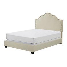 Preston Camelback Upholstered Queen Bedset, Creme