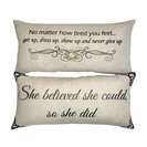 Motivational Doublesided Linen Pillow For Her With Removable Gold Pin