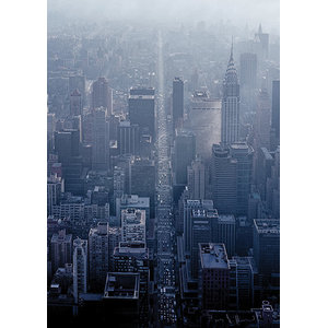 """NY Aerial Straight Road"" Printed Canvas by Pete Seaward, 120x85 cm"