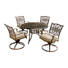 """Traditions 5-Piece Dining Set, Four Swivel Rockers, 48"""" Round Table"""