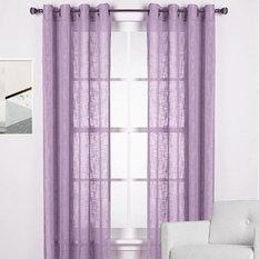 HOMESPUN Linen Look Sheer Eyelet Curtain Panel PURPLE   Curtains Part 87
