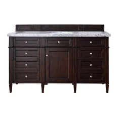 "Brittany 60"" Burnished Mahogany Single Vanity w/ 4cm Santa Cecilia Granite Top"
