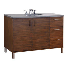 "Metropolitan 48"" American Walnut Single Vanity 3CM Shadow Gray Quartz Top"