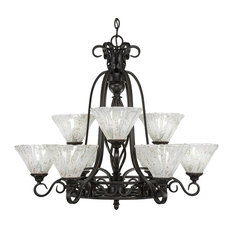 Elegant 9-Light 2-Tier Chandelier Dark Granite Italian Ice Glass