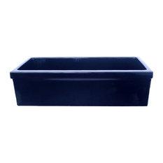 Whitehaus WHQ536-BLUE SIngle Bowl Fireclay 36'' Farmhouse Kitchen Sink Blue