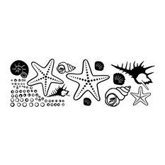 "Starfish and Clams Wall Decal, Black, 16""x5"""