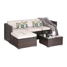Oakville Furniture - Oakville 5-Piece Outdoor Rattan Sectional Sofa, Patio Wicker Furniture Set - Outdoor Lounge Sets