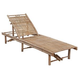 vidaXL Adjustable Bamboo Sun Lounger