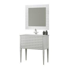 Diamond Bathroom Vanity, White Gloss