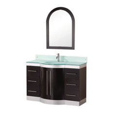 "Jade 48"" Single Sink Vanity Set, Espresso, Glass Top"