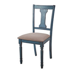 Powell Willow Wood Set of Two Dining Side Chairs in Teal Blue