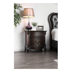 Traditionally Designed Solid Wood Nightstand With Three Drawers And Scrolled Leg