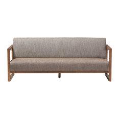 Valencia Walnut wood Finished Gravel Fabric Upholstered 3-Seater Sofa