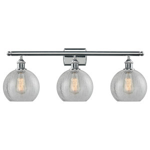 "Polished Chrome 3-Light Athens 26"" Bath, Vintage Bulbs"