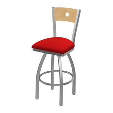 30-inch Swivel Counter Stool With Stainless And Canter Red Seat