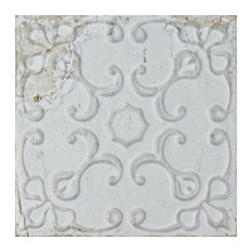 "7.88""x7.88"" Aeon Ceramic Wall Tile, White Ornato"