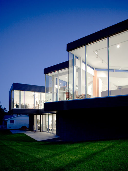 Modern Two Story Glass Exterior Home Idea In Kansas City