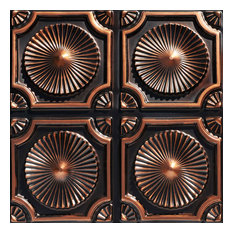 """Whirligigs, Faux Tin Ceiling Tile, Glue up, 24""""x24"""", #106, Antique Copper, 2"""
