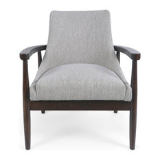 Griffin Club Chair Light Gray And Walnut