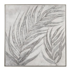 """Oversize 51"""" Square Silver Bronze Leaves Painting, Blue Soft Neutral Wall Art"""