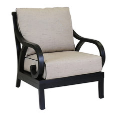 Sunset West Monterey Club Chair With Cushions, Frequency Sand With Walnut Welt