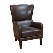 GDF Studio Clarkson Brown Leather Wingback Club Chair