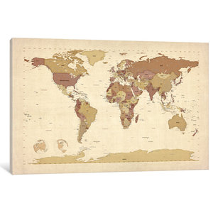 Wood Rectangle Panel Giclee Print Of World Map Natural Finish Brown Farmhouse Prints And Posters By Virventures