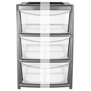 Tower Chest of Drawers, Silver Plastic With Wide-Storage Drawers and Wheels