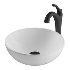 "KRAUS Elavo 14"" Round White Ceramic Bathroom Vessel Sink & Arlo Faucet, Black"