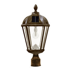 """Royal Solar Light, With GS Solar LED Light Bulb, 3"""" Fitter, Weathered Bronze"""