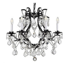 Wrought Iron Black Crystal Chandelier