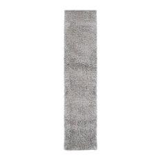 Velvet Plain Silver Runner Plain Rug, 60x230 cm