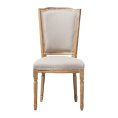 Cadencia French Cottage Weathered Oak and Beige Dining Side Chair