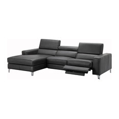 Ariana Italian Leather Sectional Sofa With Power Recliner, Left Hand Facing